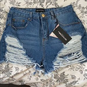 Pretty Little Thing Distressed Shorts